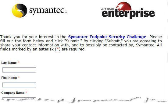 Symantec Landing Page