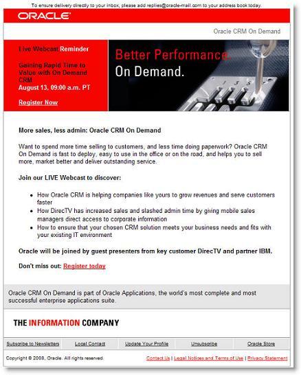Oracle Webinar Invitation