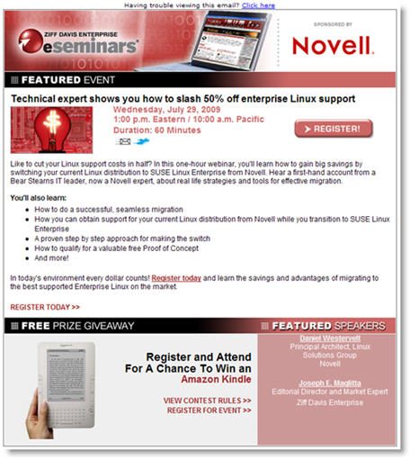 novell webinar invitation