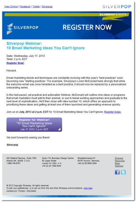 Silverpop Webinar Invitation
